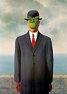 Rene Magritte Oil Painting Replica of The Son of Man, 100% Hand Painted on Canvas Good Quality Art Decor for Home Wall