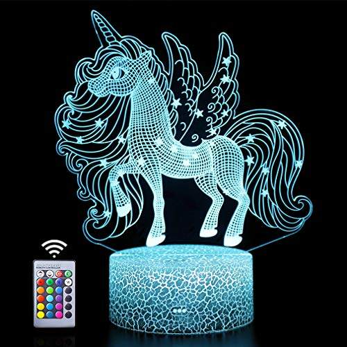 Unicornio luz nocturna 3D, mando a distancia y 16 colores decorativos LED lámpara de mesita de noche para habitación de niños, Navidad, cumpleaños, regalos para niños, niñas, adolescentes