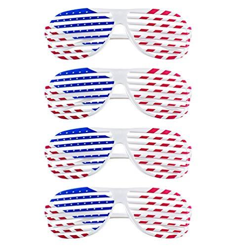 Amosfun Amerikanische Flagge USA Patriotischen Design Kunststoff Shutter Brille Shades Sonnenbrille Eyewear für Party Requisiten Dekoration 4St