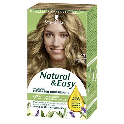 Schwarzkopf - Natural & Easy - Coloration Permanente Naturelle Cheveux - Huile d'olive et Extrait de Lavande - 93 % d'ingrédients d'origine naturelle - Blond Clair Cendré 542