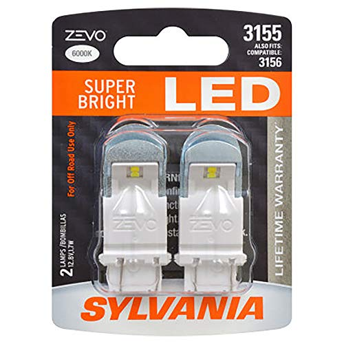 SYLVANIA - 3155 ZEVO LED White Bulb - Bright LED Bulb, Ideal for Daytime Running Lights (DRL) and Back-Up/Reverse Lights (Contains 2 Bulbs)