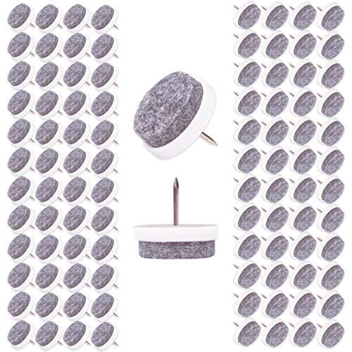 Filzada® 100x Filzgleiter Nagel - Ø 24 mm (weiß) - Profi Möbelgleiter/Stuhlgleiter Filz zum Nageln