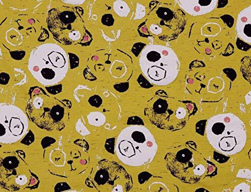 Qualitativ hochwertiger Jersey Stoff mit Pandabären auf Senf als Meterware zum Nähen von Kinder und Baby Kleidung, 50 cm