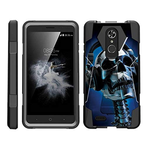 TurtleArmor | Compatible with ZTE Max XL Case | ZTE Blade Max 3 Case | ZTE Max Blue Case [Dynamic Shell] Absorber Impact Shock Shell Cover Hybrid Gel Hard Kickstand Music - Skeleton Headphone