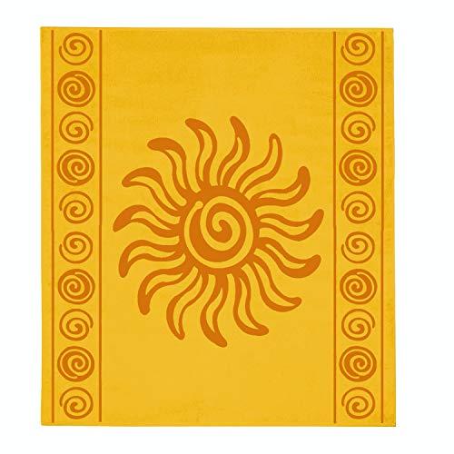 Delindo Lifestyle® Frottee Strandtuch Tropical Sun Yellow XXL, 100% Baumwolle, Strandlaken ist 180x200 cm groß