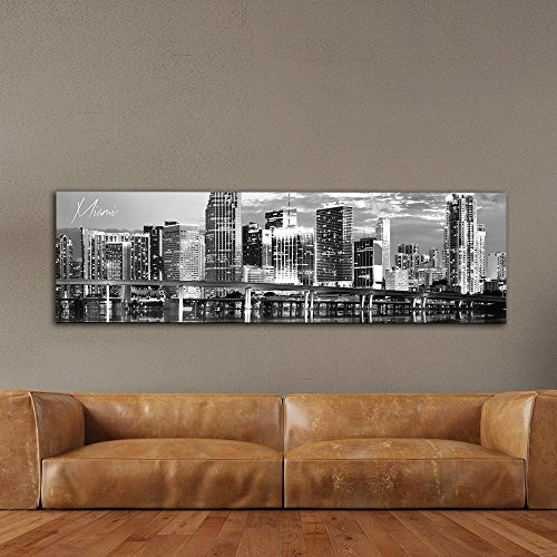 """WallsThatSpeak Panoramic Miami Cityscape Picture, Black and White Stretched Canvas Art Prints, Wall Decoration for Bedroom or Office, Framed and Ready to Hang, 14"""" x 48"""""""
