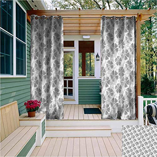 Floral Outdoor Privacy Curtain for Pergola Digital Style Flower Petals with Striped Lines with Butterfly Figures Illustration Home Fashion Machine Washable Grey White W54 x L63 Inch
