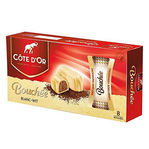 Cote d'Or - Bouchees blancos - 24 g x 8 piezas - Chocolate con leche belga - Barritas de chocolate con nueces - snack perfecto - Barra de chocolate envuelta individualmente - Importado de Bélgica