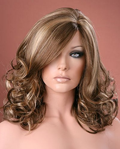 Forever Young Ladies Long Wig Soft Waved Curls Brown with Blonde Highlights Fashion Wig by Forever Young