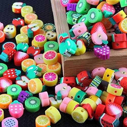 50 unids / pack colores mezclados fruta animal estilo arcilla polimérica cuentas espaciadoras DIY collar pulsera pendiente joyería resultados Making-K29