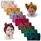 10 PCS Baby Headbands Nylon Hairbands with Bows for Newborn Infant Girl Toddler Kids Handmade Hair Accessories