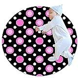 XiangHeFu Round Area Rug,Doormats,Carpet,Pink White Black Polka Dot Texture Non Slip for Bedroom,Living Room,Children's or Book Room