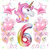 SPECOOL Unicornio Decoración de Cumpleaños 6 Años, Globo de Unicornio 3D con Pancarta de Cumpleaños Numero 6 Cumpleaños Globos Latex Globos para Decoracion de Fiesta de Cumpleaños Niña