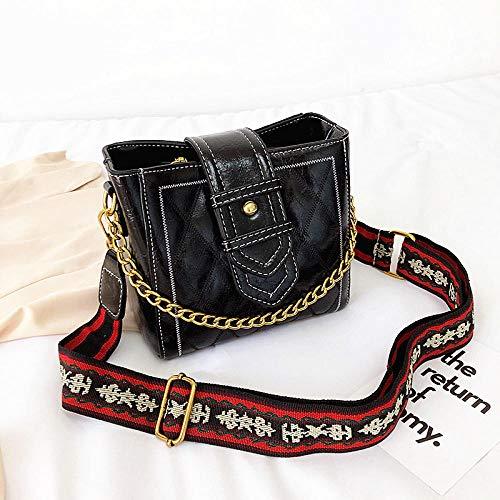 Générique Mode Lingge Bucket Bag Femmes Sac à bandoulière Large Bande Sac à Main pour Femmes chaîne-Noir
