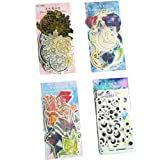 Fantacy Star Series Sticker Set (4 Pack, 240 Pieces) Washi Stickers Universe Planet Moon Earth Starry Night Magic Array Paper Crane Bird Decorative Label for Scrapbook Art Craft Planner Diary Journal