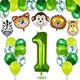 Bluelves 1. Geburtstag Dekoration Set, 1 Jahr Kindergeburtstag Deko, Grün Luftballons Safari Tier Folienballons für Kindergarten Dekoration Urwald Party Geburtstag Junge Mädchen