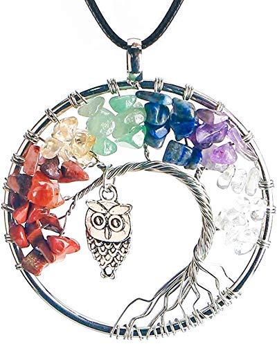 ORYCOOL Collar de árbol de la Vida con Colgante de Amatista Chakra Energy Stone Chakra Energy Collar, Collar de Regalo de San Valentín, para Novia, Esposa, Hermana, joyería