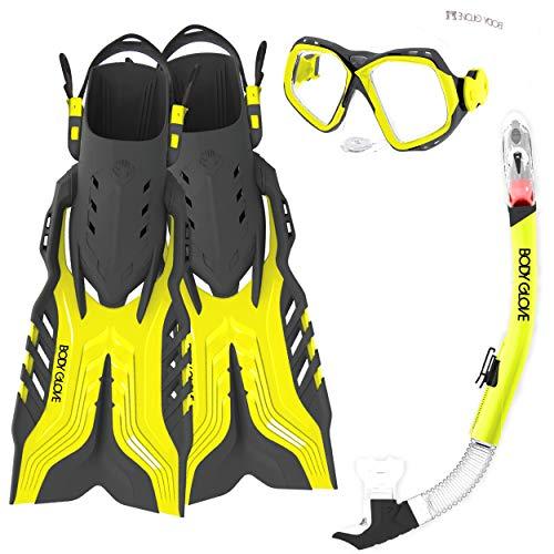 Body Glove Aquatic Fiji Mask Snorkel and Fins Set, Small/Medium, Citrus/Grey
