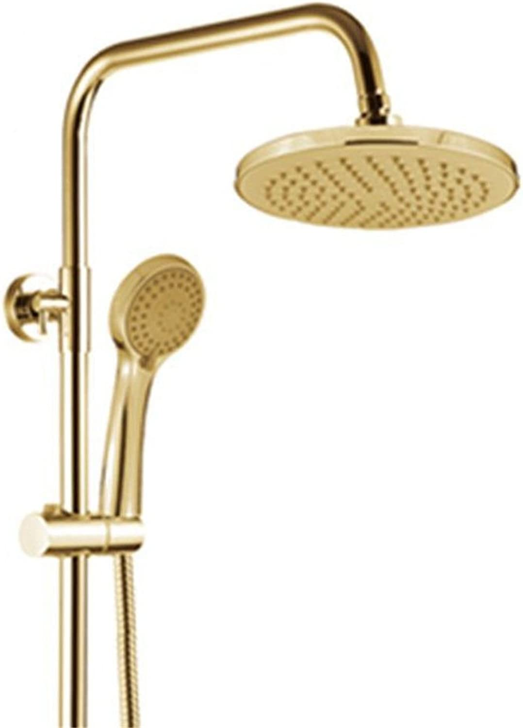 Lalaky Taps Faucet Kitchen Mixer Sink Waterfall Bathroom Mixer Basin Mixer Tap for Kitchen Bathroom and Washroom Full Copper Retro gold-Plated Lifting Supercharger Shower Wall-Mounted