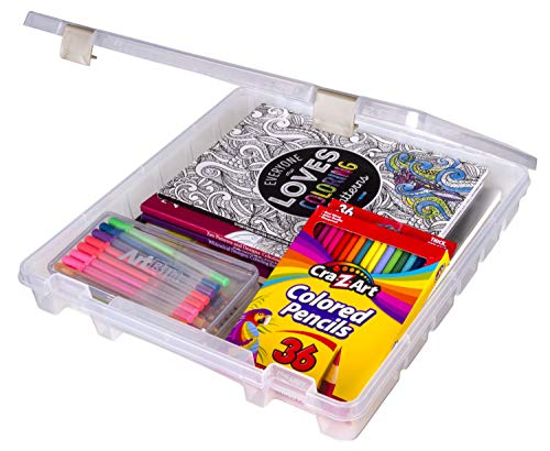 ArtBin 9100AB Super Satchel Slim 1 Open Compartment, Art & Craft Organizer, [1] Plastic Storage Case, Clear, 12 x 12 Inch