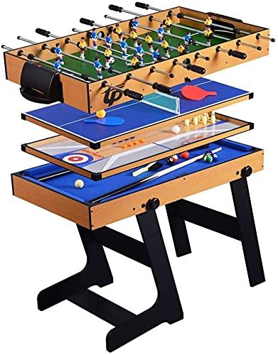 DFGER Mesa de Juego Plegable combinada de 5 en 1, Juguetes interactivos de Dos Personas, Juguetes Infantiles, fútbol, Tenis de Mesa, tejo, Bolos, mesillas de Billar (Color : Style2)
