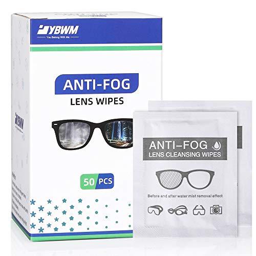 YBWM Brillenputztuch Antibeschlag, Antibeschlagtuch, Anti-Fog-Tücher für Brillen, Handy, Tablet Laptop, Autospiegel,HD-Bildschirme(50 Stücke)