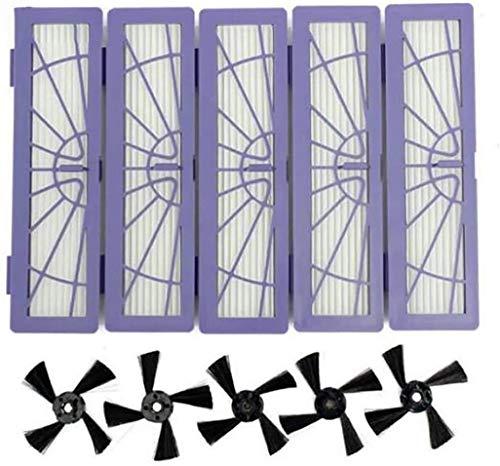 5 filtros HEPA 5 cepillos laterales de repuesto para Neato Botvac & D Series modelos 70e 75 80 85 D75 D80 D85 D3 D4 D5 D7 D6 Robot Aspiradora Filtros Cepillo