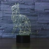 かわいい猫3Dナイトライト7色LEDテーブルランプクリスマスおもちゃギフト