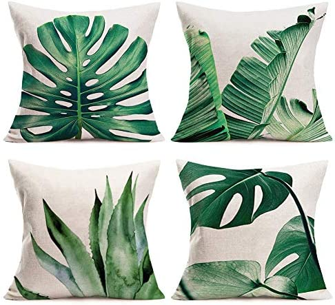 Palm Leaves Throw Pillow Covers Cotton Linen Home Decorative Pillow Covers 18 x 18 Set of 4 product image