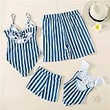 Costume Da Bagno Genitore-Figlio - Moda Estate Beach Famiglia Costumi Da Bagno A Righe Abbinare Costumi Da Bagno Madre Figlia Bikini Papà Figlio Costume Da Bagno Famiglia Matching Blue Striped Prin
