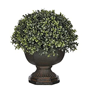 House of Silk Flowers Artificial Half-Ball Boxwood Topiary in Brown Garden Urn
