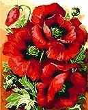 FGHJSF Pintar por numeroscachorro Rojo Pintura al óleo de DIY por Números con Pinceles y Pinturas para Adultos Niños Principiantes Lienzo Pintura al óleo - 40 X 50 cm (Sin Marco)