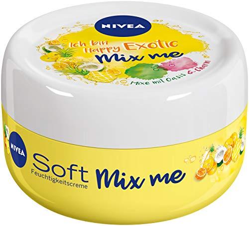NIVEA Soft Mix Me Happy Exotic Feuchtigkeitscreme im 1er Pack (1x100 ml), fruchtige Hautcreme zum Mixen mit Berry Charming und Chilled Oasis, Soft Creme mit Jojoba-Öl & Vitamin E