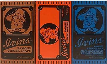 1 Box Ivins Famous Ginger Snaps 10 Oz | 1 Box Ivins Famous Spiced Wafers 16 oz | 1 Box Ivins Famous Gingers Mini Sandwich Creme Cookies 10 oz