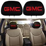 PINGPING 2Pcs for GMC Car Headrest Cover,Car Truck SUV Van Soft Fabric Head Rest Cover Universal Fit GMC Cars