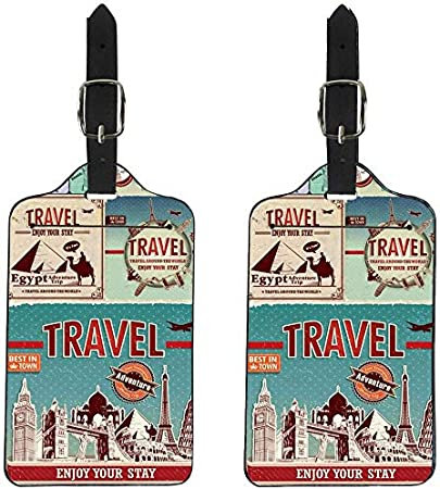 NDISTIN 2 Pieces Luggage Tags Leather Travel Suitcase Labels Initial Bag Tag DIY Customized Print Your Own Imgae on It