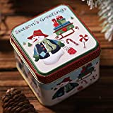 Amhomely - Caja de almacenamiento para dulces de Navidad, diseño cuadrado, regalo de Navidad, adornos para colgar para mujeres, hombres, niños