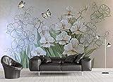 Mural De Papel Tapiz 3D Orquídea, Mariposa, Flores Decoración De La Pared Del Dormitorio De La Oficina De La Sala De Estar