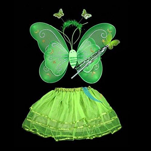 HuntGold Costume bébé fille fée ange Scène photo Papillon + Baguette + bandeau + Robe Set (Vert)