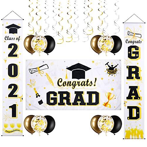 27 Decoraciones de Graduación, Bandera Fondo de Fiesta de Gradución de Tela Grande de 36 x 71 Pulgadas Letreros de Porche de Graduación de 12 x 71 Pulgadas 12 Globos 24 Remolinos Colgantes