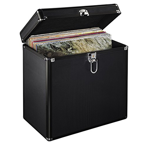Hama LP-koffer in aluminium look (voor het opbergen van 50 platen, afsluitbaar) vinyl opbergdoos, plaatkoffer zwart