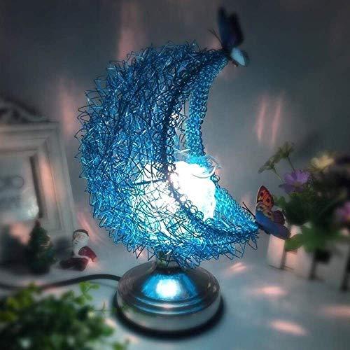 Tischlampen Moon Aromatherapy Lamp, 3D Moon Light Nachttischlampe Aroma Electric Wax Melt Burner Romantische Lampe Atmosphäre für Kinder Geschenk für Frauen (kein Schmetterling) (blau) LAMP-15226J3H8D
