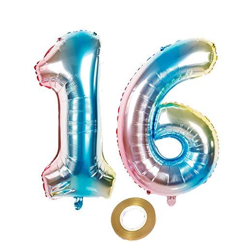 40 Zoll luftballons zahl 16 in Regenbogen Mädchen Junge geburtstagsdeko Nummer 16 Luftballon Helium Zahlenballon zahlen folienballon Nummer ballon XXL 100cm Hochzeit Geburtstag Party Dekoration