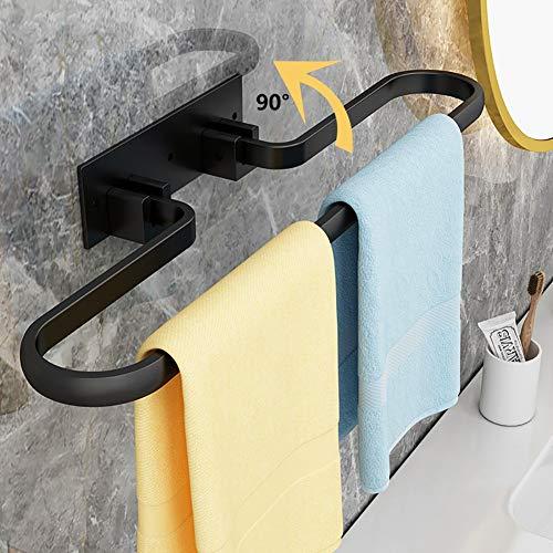 ZDXR8 Toalleros de Barra, 90° Plegable Toallero Bano Adhesivo para Baño y Cocina Toallero sin Taladro Estante de Almacenamiento de Toallas Negro 40/50/60cmBlack-40cm