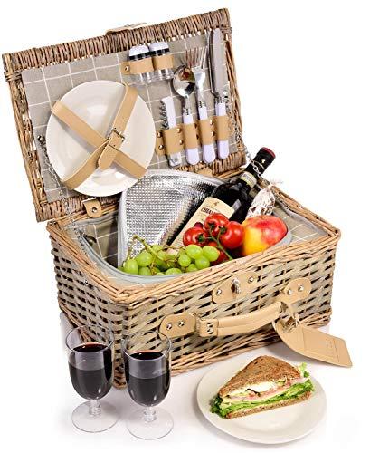 Sänger Picknickkorb Amrum 12 teiliges Picknick-Koffer Set für 2 Personen aus Weidenflechte, Weidenkorb, Geschirr, Besteck, Salz- und Pfefferstreuer, mit Zubehör, Camping, Outdoor, Picknick Korb