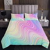 Moderner Marmor Tagesdecke Pastell Regenbogen Marmor Bedrucktes Bettüberwurf 220x240cm für Kinder Schick Luxus Bunte Streifenlinien Steppdecke Mikrofaser