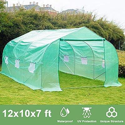 Greenhouse, Repalbel 12x10x7 Oversized Heavy Duty Walking-in Tunnel Tent, Gardening Rack with 6 Windows and Zippered Door, Green