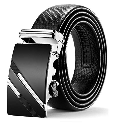 ITIEZY Herren Gürtel Ratsche Automatik Gürtel für Männer 35mm Breit Ledergürtel, Schwarz 123, Länge: Bis zu 49,21 Inches (125cm)