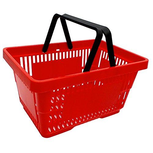 gebar 1 Einkaufskorb in rot mit Zwei Tragegriffe aus Plastik 20 Liter Verkaufskörbe stapelbar