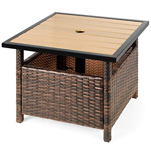 Best Choice Products Wicker Rattan Patio Side Table Outdoor Furniture for Garden, Pool, Deck w/Umbrella Hole - Brown